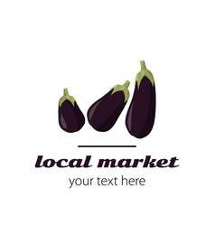 Logo with eggplants simple sign for market vector