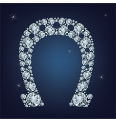Lucky horseshoe made a lot of diamonds vector