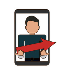 Man holding arrow on smartphone screen vector