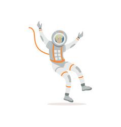 man training before flight in cosmos cartoon vector image
