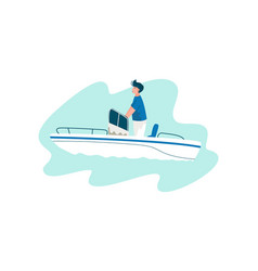 man traveling on yacht at sea on summertime vector image