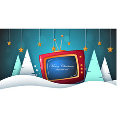merry christmas happy new year tv fir vector image
