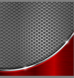 metal perforated background with red wave steel vector image