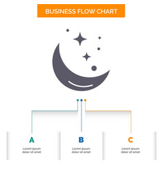 Moon night star weather space business flow chart vector