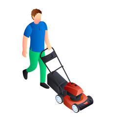 motor lawnmower icon isometric style vector image