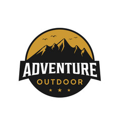 Mountain outdoor adventure badge logo design vector