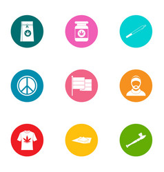Narcotic icons set flat style vector
