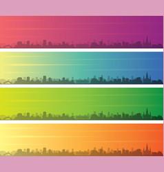 New orleans multiple color gradient skyline banner vector