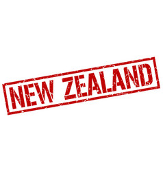 New zealand red square stamp vector
