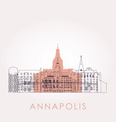 outline annapolis skyline with landmarks vector image