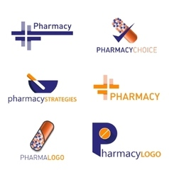 Pharmacy logo Set vector image