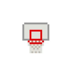Pixel art 8bit basketball ring on white background vector