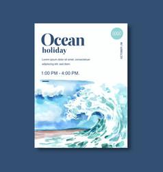 Poster design with sealife-theme creative vector