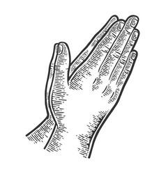 Prayer hands gesture engraving vector