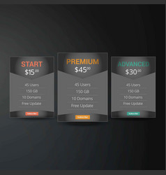 Price list hosting plans and web boxes banners vector