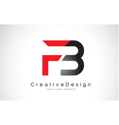 Red and black fb f b letter logo design creative vector