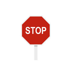 Red stop road sign icon flat style vector
