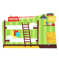 Room in hostel bed and breakfast vector