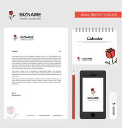 rose business letterhead calendar 2019 and mobile vector image
