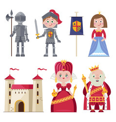 Royal family and chivalry in infographic set vector