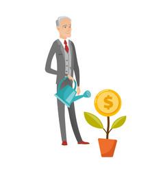Senior caucasian businessman watering money flower vector
