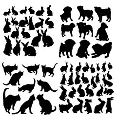 set animal icons in circle cat dog rabbit vector image