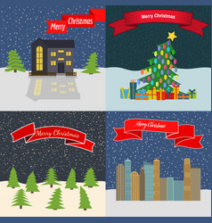 set of four happy new year backgrounds vector image