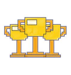 Set of pixelated trophy award game vector