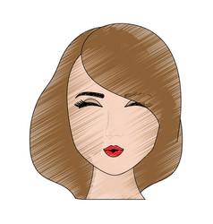 sexy woman face cartoon vector image
