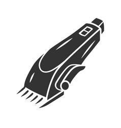 Shaving machine glyph icon haircutting procedure vector