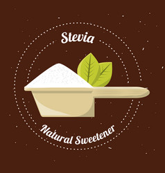 Stevia natural sweetener inside spoon vector