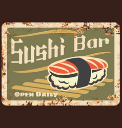 Sushi bar rusty metal plate japanese cuisine vector
