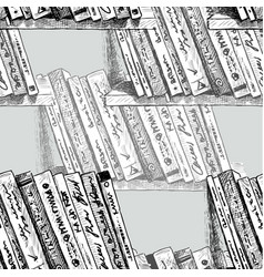 the printed books on the bookshelfs vector image
