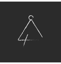 Triangle icon drawn in chalk vector image