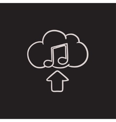 Upload music sketch icon vector image