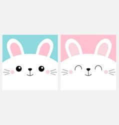 White bunny rabbit head face square icon set cute vector