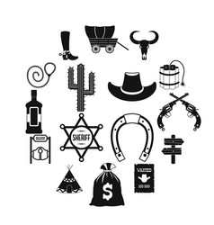 Wild west cowboy black simple icons vector