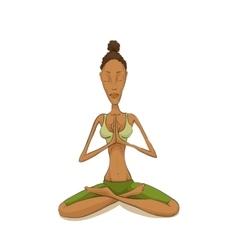 Woman yoga meditating vector