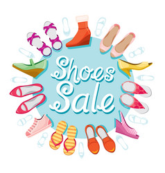 womens shoes sale blue background on circle frame vector image