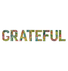 Word grateful with falling leaves vector