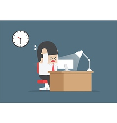Businessman working overtime at his desk vector