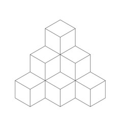 pyramid of cubes flat outline vector image vector image