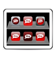 Blog red app icons vector image vector image