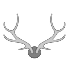 Deer antler icon black monochrome style vector image