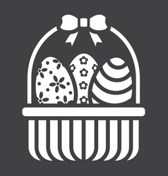 easter eggs in basket glyph icon easter vector image vector image