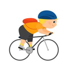 enthusiastic cartoon cyclist vector image vector image