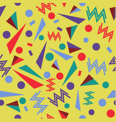 geometric seamless pattern in memphis style vector image vector image