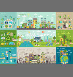 Green city infographic set with charts and other vector