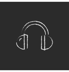 Headphone icon drawn in chalk vector image vector image