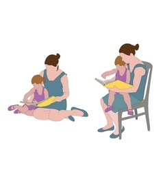 mother reading book to child vector image vector image